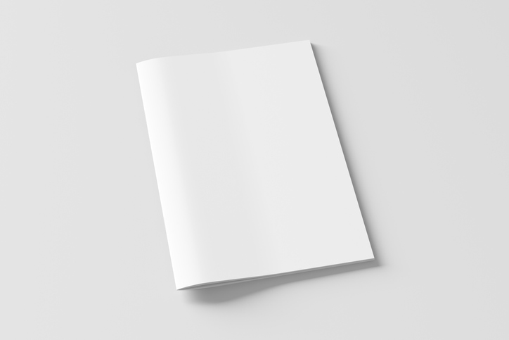 Blank brochure or booklet cover mock up on white. Isolated with clipping path around brochure. Side view. 3d illustratuion