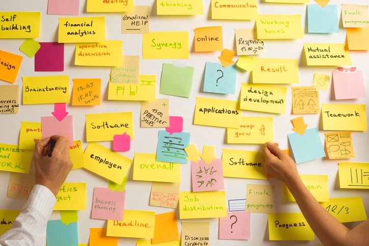A team of business people writes sticky notes on a white board.