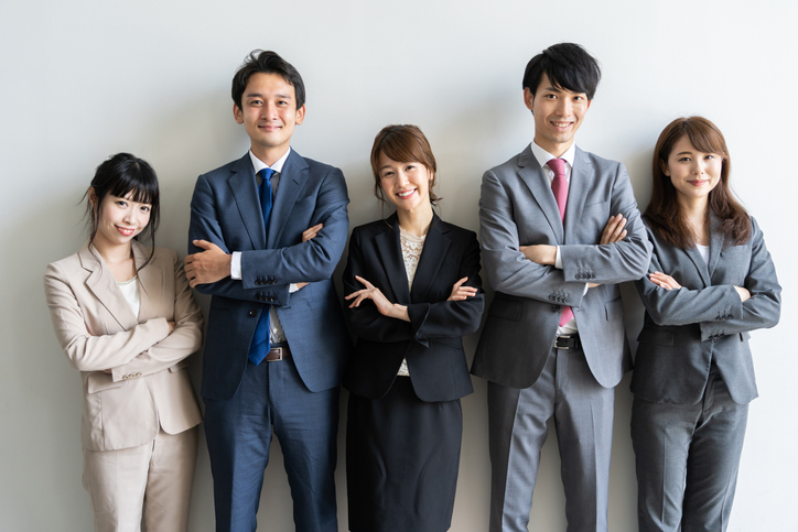 portrait of asian business group standing