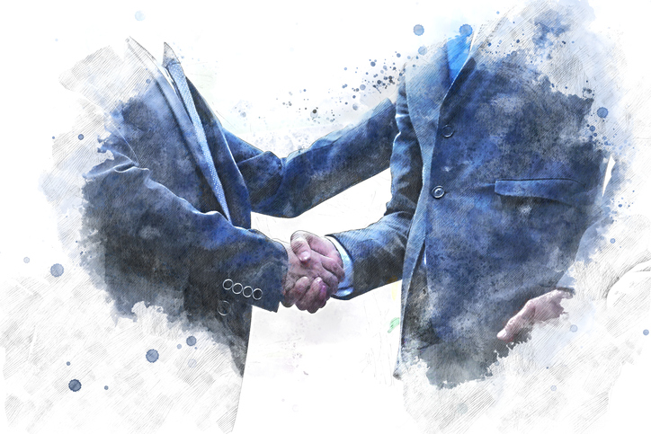 Abstract colorful shape on Business handshake concept on watercolor illustration painting background.