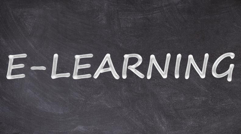 E-learning written on blackboard