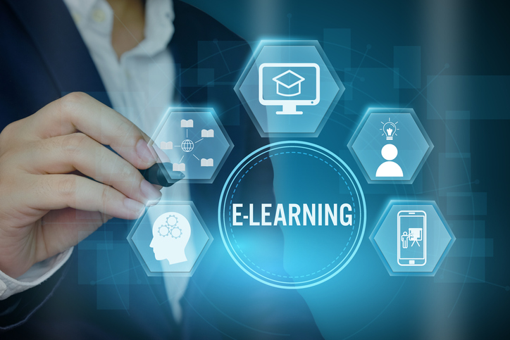 Businessman showing E-learning concept with line icon,Creative design for banner.
