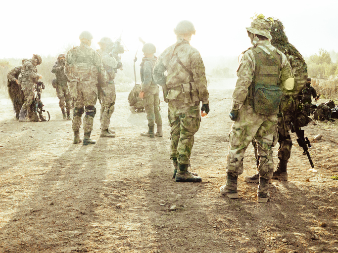 A group of soldiers on a field position.