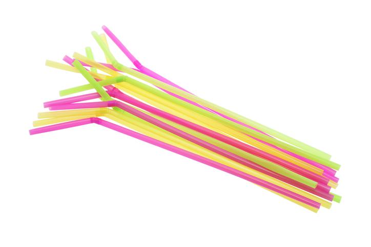 Plastic Drinking Straws on White Background