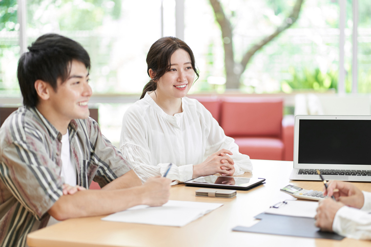 Young couple consulting on life plans